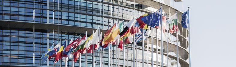 Europäisches Parlament mit Flaggen im Vordergrund