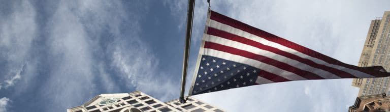 US-Flagge in Boston